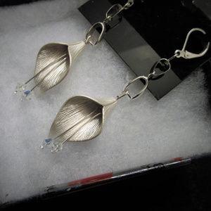 SilverPlated Rose Earrings w/Swarovski Crystal
